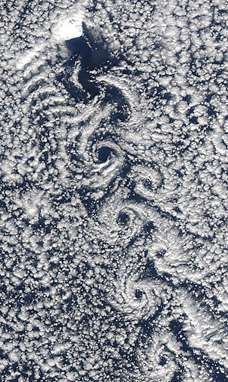 Jan Mayen - Von Kármán vortex street created by Beerenberg volcano in the westerly winds.