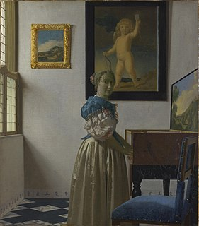 <i>Lady Standing at a Virginal</i> 1670 painting by Johannes Vermeer