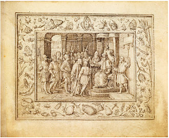 Johannes Wierix - Christ before Pilate, from Passion Cycle