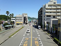 Japan National Route 28 from footbridge in front of Naruto Station (north).jpg