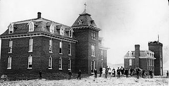 George M. Randall (bishop) - Jarvis Hall (on the left) and Matthews Hall in Golden, Colorado before 1874