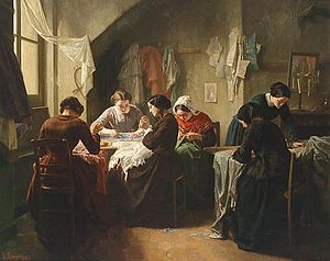 Dressmaker - Jean-Baptiste Jules Trayer, Breton seamstresses in a shop 1854).  Prior to the Industrial Revolution, a seamstress did handsewing.