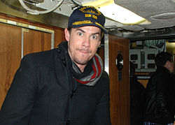 Jerry Trainor, who portrays Spencer Shay on Nickelodeon's TV show iCarly, poses with his newly acquired submarine USS Hartford (SSN 768) command cap in Groton, Conn., Jan 120111-N-AW342-075.jpg