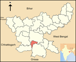 Location of Khunti district in Jharkhand