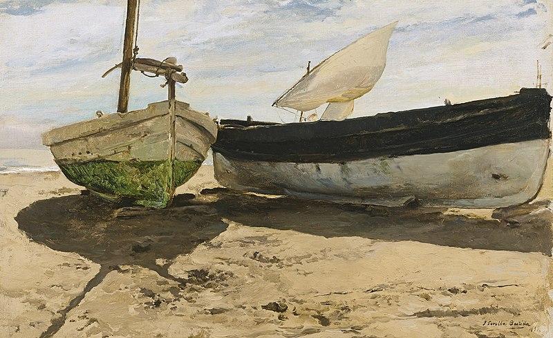 File:Joaquín Sorolla - Barcas en la Playa, Valencia (1894).jpg