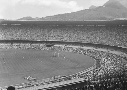 The opening game of the Maracana Stadium in Rio de Janeiro, shortly before the 1950 FIFA World Cup. From the National Archives of Brazil Jogo no Estadio do Maracana, antes da Copa do Mundo de 1950.tif