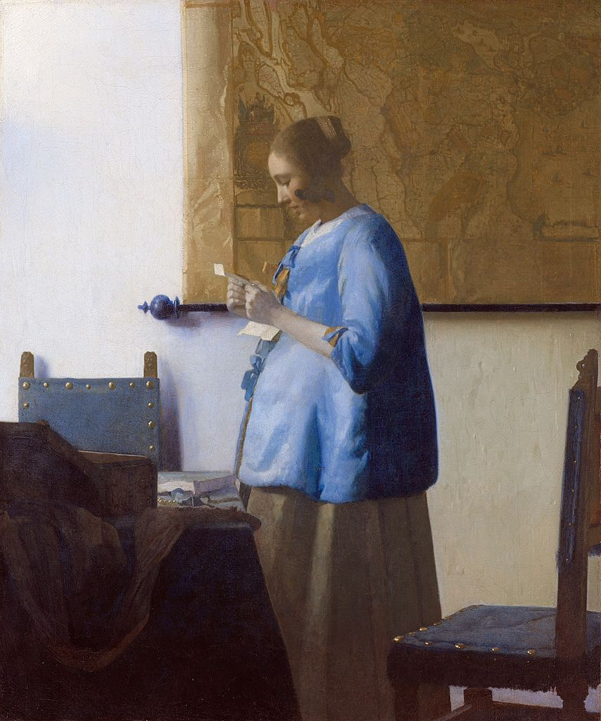 https://upload.wikimedia.org/wikipedia/commons/thumb/3/3d/Johannes_Vermeer_-_Woman_in_Blue_Reading_a_Letter_-_WGA24657.jpg/854px-Johannes_Vermeer_-_Woman_in_Blue_Reading_a_Letter_-_WGA24657.jpg
