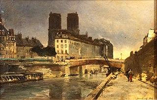 Notre-Dame de Paris, vue du quai Saint-Michel avec le Petit Pont