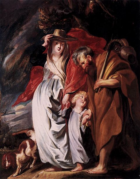 The Return of the Holy Family from Egypt by Jacob Jordaens (c. 1616) Jordaens Return of the Holy Family from Egypt.jpg