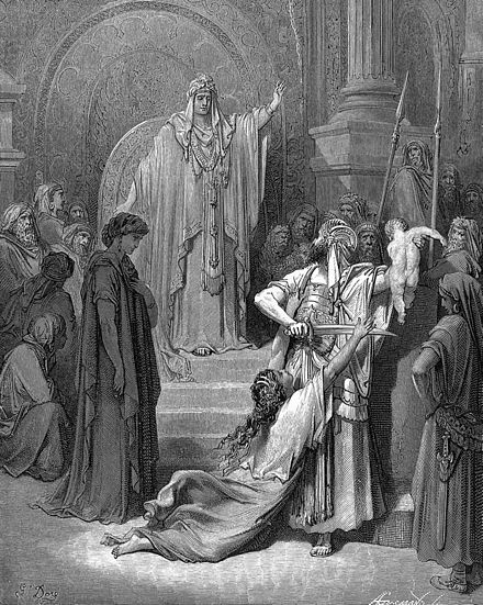Judgment of Solomon, an engraving by Gustave Dore (19th century) Judgement of Solomon.jpg