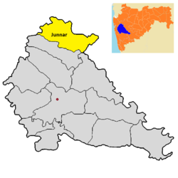 Location of Junnar in Pune district in Maharashtra