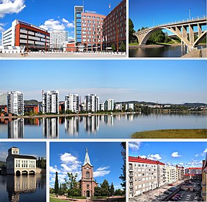 Jyväskylä - Clockwise from top-left: Lutakko Square, Äijälänsalmi Strait, apartments in Lutakko, a courtyard in downtown Jyväskylä, the Jyväskylä City Church, and the old power station of Vaajakoski