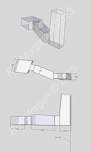 KV26 - Isometric, plan and elevation images of KV26 taken from a 3d model
