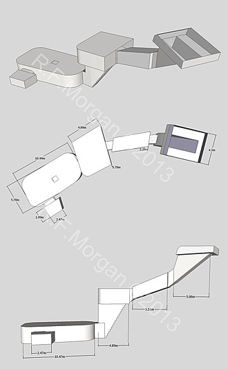 KV38 - Isometric, plan and elevation images of KV38 taken from a 3d model