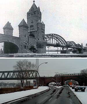 Kaiserbrücke, Mainz - Neo-roman architecture (1904-1945) Rebuilt without gatehouses (1955-)