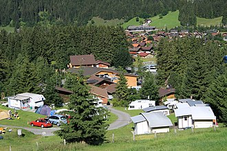 Kandersteg - Houses, cabins and tents in Kandersteg during the summer
