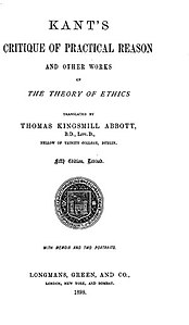 Kant's Critique of Practical Reason (1899 translation - book cover).jpg