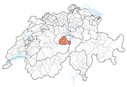 Map of Switzerland, location of کانتون ابوالدن highlighted