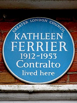 Photo of Kathleen Ferrier blue plaque