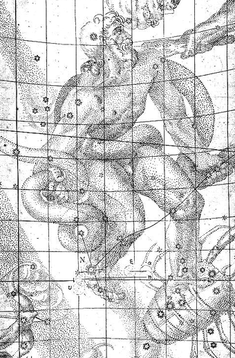The location of the stella nova, in the foot of Ophiuchus, is marked with an N (8 grid squares down, 4 over from the left). Kepler Drawing of SN 1604.png