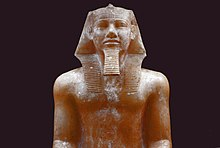 Alabaster statue of Khafra, probably from Memphis, now in the Egyptian Museum at Cairo.