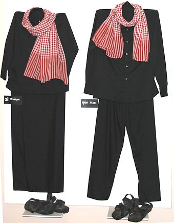 Uniforms worn by the Khmer Rouge during their period of control Khmer rouge clothing.jpg
