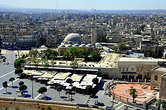 Khusruwiyah Mosque of the early Ottoman period Khusruwiyah mosque and Aleppo view2.jpg