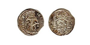 Vladislav, King of Syrmia - The image of Vladislav on a coin.