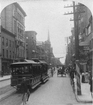 Toronto Railway Company - TRC streetcars on King Street in 1900.
