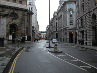 King William Street, London - North end of King William Street looking towards Monument station.