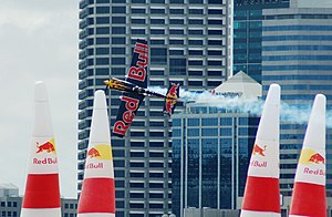 Red Bull Air Race World Championship - 2006 champion, Kirby Chambliss, crossing the Quadro in the prescribed knife-edge flight in Perth, 2006