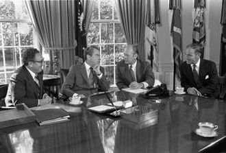 Alexander Haig - Haig (far right) is seen meeting with (left to right) Secretary of State Henry Kissinger, President Richard Nixon, and Representative Gerald Ford (R-MI) on October 13, 1973, regarding Ford's upcoming appointment as vice president