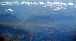 Kukës as seen from the air