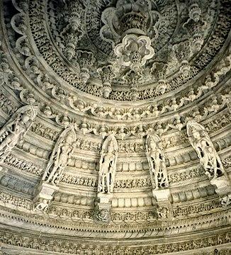 The ceiling of Dilwara Jain Temples, India.