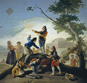 Cigarette - Francisco Goya's La Cometa, depicting a (foreground left) man smoking an early quasicigarette