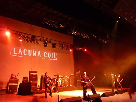 Italian band Lacuna Coil (in 2010), one of the most successful gothic metal groups. Lacuna Coil 2010 0001.jpg