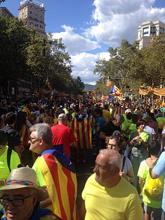 National Day for Yes - People demonstrating in Barcelona.