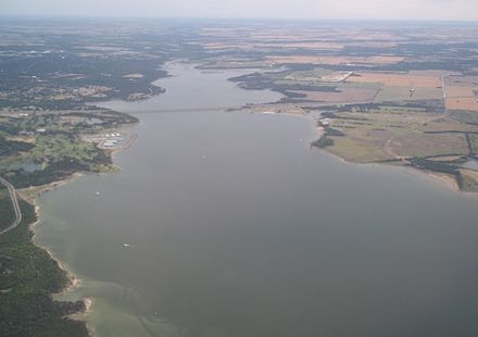 Lake Waco - southern half of the lake with State Highway 6 Twin Bridges in view Lake Waco southern portion.jpg