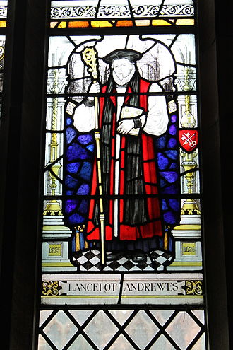 Lancelot Andrewes - Lancelot Andrewes memorial stained glass window in the cloister of Chester Cathedral