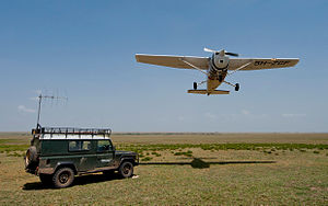 Frankfurt Zoological Society - FZS airplane is flying across the Serengeti National Park, Tanzania.