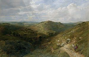 George Vicat Cole - Landscape, possibly The Hog's Back, Guildford.