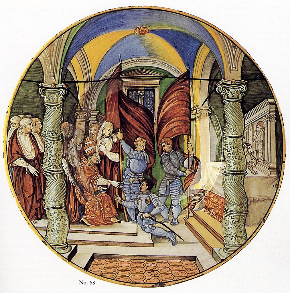 File:Large Dish (tagliere)- Pope Leo X presenting a baton to