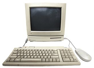 "Macintosh LC - Front view of an Apple Macintosh LC II computer with Macintosh 12"" RGB display, keyboard and mouse"