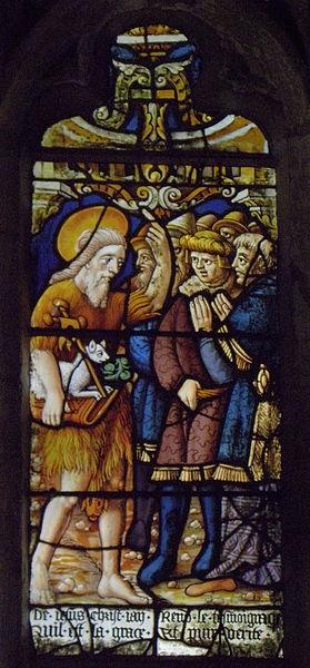 Maîtresse-vitre de l'église Saint-Jean-Baptiste de Le Croisty (56). Détail. Prédication de Saint-Jean-Baptiste.