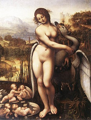 Helen of Troy - Leda and the Swan by Cesare da Sesto (c. 1506–1510, Wilton). The artist has been intrigued by the idea of Helen's unconventional birth; she and Clytemnestra are shown emerging from one egg; Castor and Pollux from another.