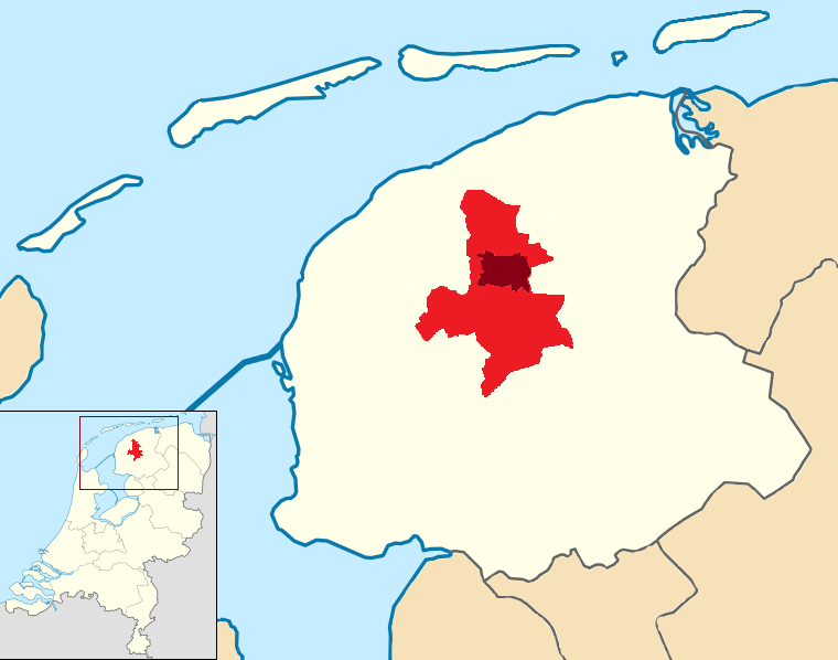 Location of the municipality (red) and the city (dark red) in the province of Friesland in the Netherlands
