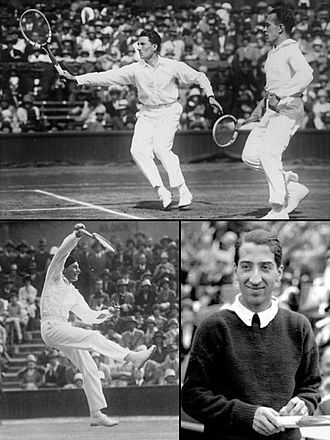 The Four Musketeers (tennis) - Jacques Brugnon and Henri Cochet associated in double in 1930 (up), Jean Borotra, « le Basque bondissant » (the bounding Basque), in 1931 (down-left), René Lacoste in 1929 (down-right).