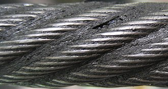 Wire rope - Left-hand ordinary lay (LHOL) wire rope (close-up). Right-hand lay strands are laid into a left-hand lay rope.