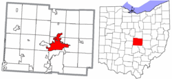 Location of Newark in Licking County and State of Ohio