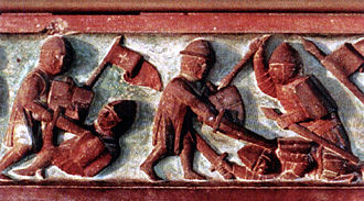 Battle of Grunwald - Lithuanians fighting with Teutonic Knights (14th-century bas-relief from the Castle of Marienburg)